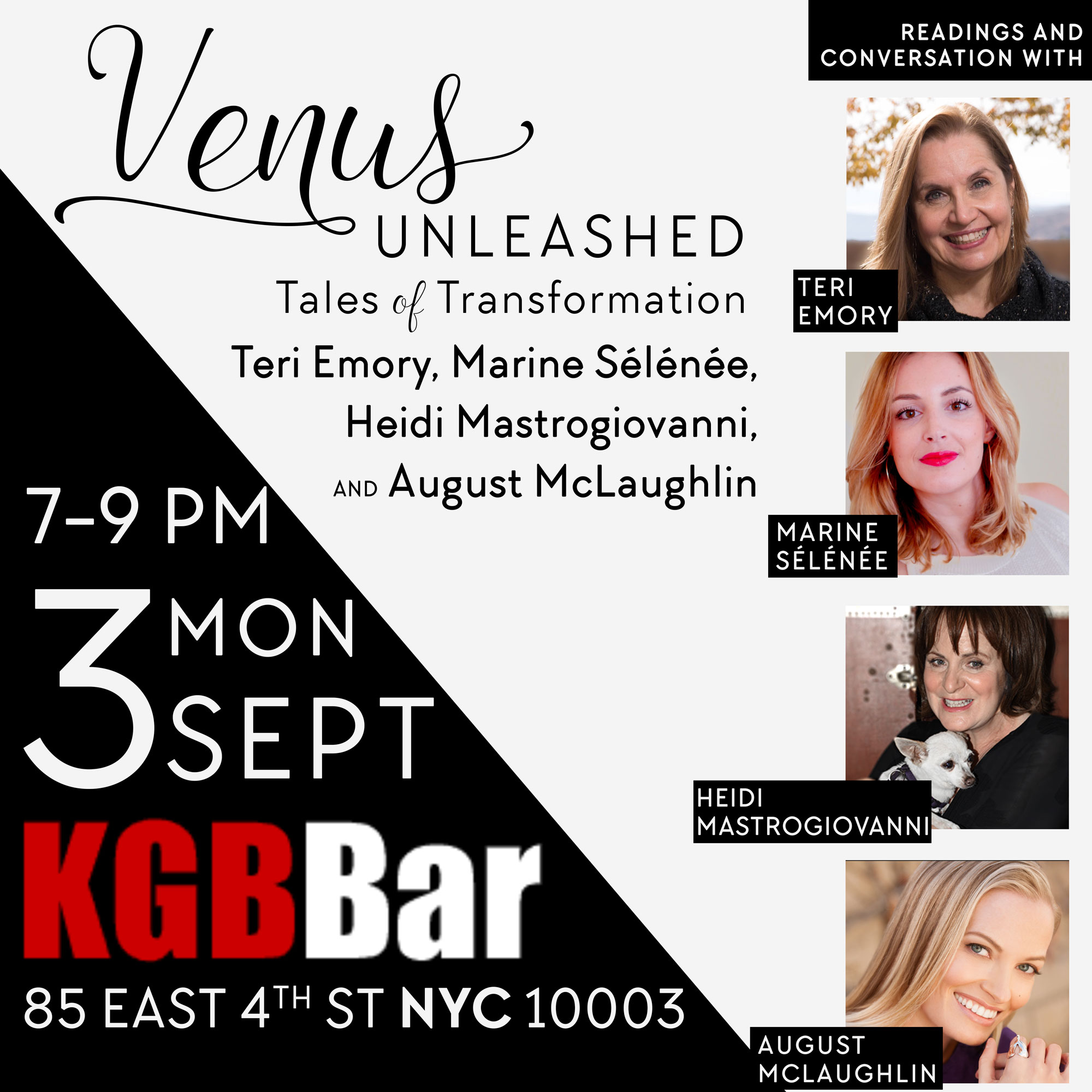 Venus Unleashed, featuring Teri Emory, Heidi Mastrogiovanni, Marine Selenee, and August McLaughlin in NYC